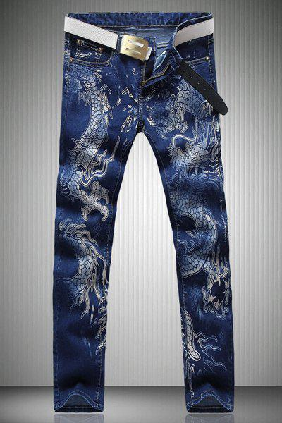 Trendy Straight Leg Dragon Pattern Print Zipper Fly Men's Jeans - DENIM BLUE 28