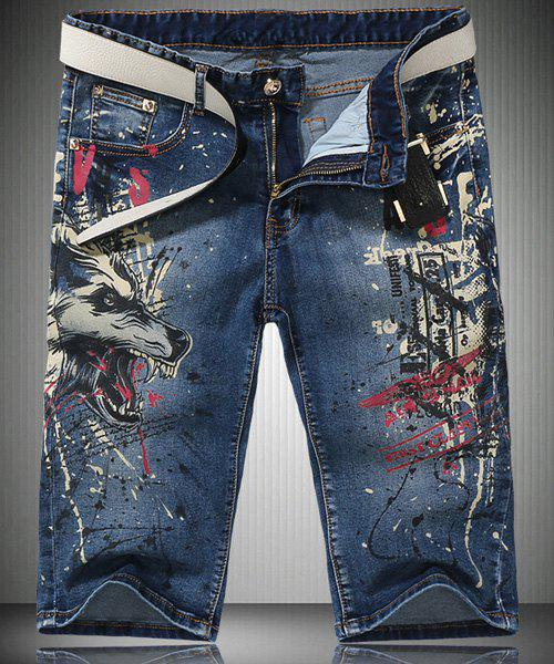 Trendy Straight Leg Wolf Pattern Print Zipper Fly Men's Denim Shorts - LIGHT BLUE 29