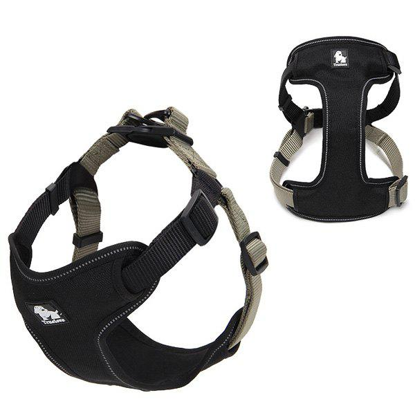 High Quality Comfortable Adjustable Breathable Reflective Dog Chest Harness Pet Vest Rope Collar - BLACK GREY L