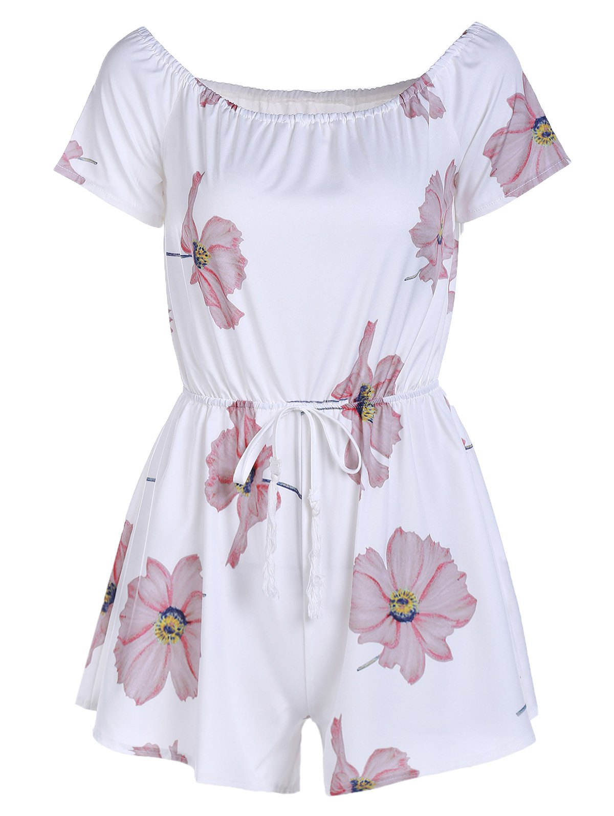Cute Floral Short Sleeve Off-The-Shoulder Women's Romper - WHITE L