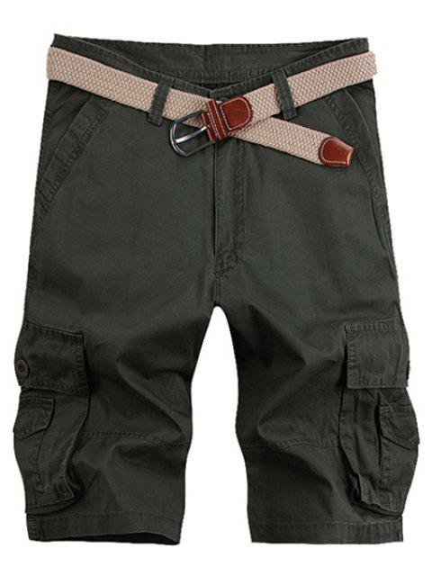 Solid Color Stereo Patch Pocket Straight Leg Zipper Fly Men's Cargo Shorts - ARMY GREEN 36