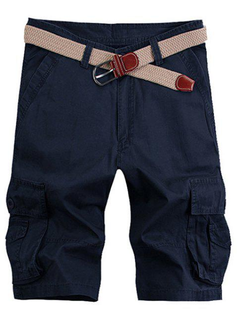 Solid Color Stereo Patch Pocket Straight Leg Zipper Fly Men's Cargo Shorts - PURPLISH BLUE 33