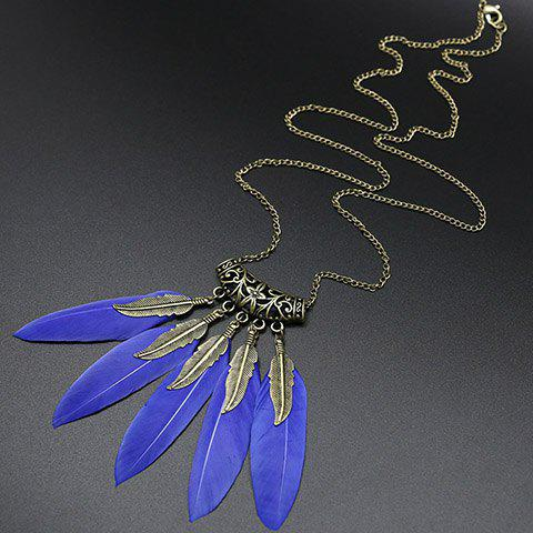 Leaf Feather Tassel Sweater Chain - BLUE