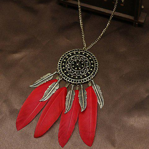 Faux Feather Leaf Floral Sweater Chain - RED
