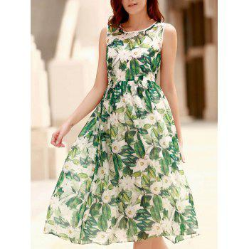 Elegant Jewel Neck Sleeveless Floral Print Pleated Dress For Women
