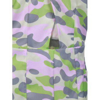 Stylish Buttons Embellished Pink Camo Bodycon Dress For Women - ACU CAMOUFLAGE S
