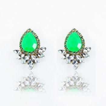 Faux Gem Crystal Flower Shape Earrings
