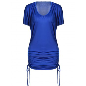 Stylish Plunging Neck Short Sleeve Solid Color Side Scrunch Women's Dress