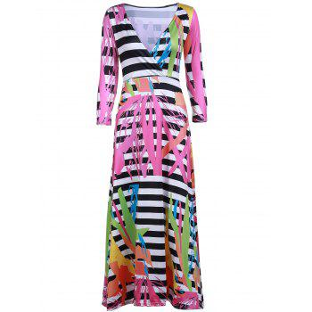 Sexy Women's Plunging Neck 3/4 Sleeve Printed Maxi Dress