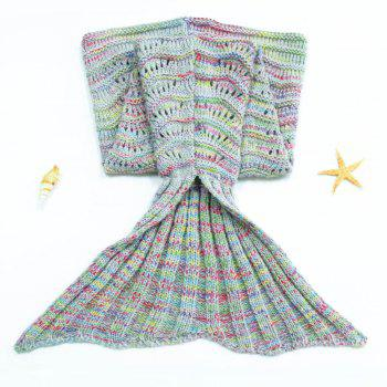 Cute kids' Hollow Out Colorful Knitted Mermaid Blanket - COLORMIX