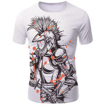 White Round Neck 3D Armor Hero Print Men's Short Sleeves T-Shirt