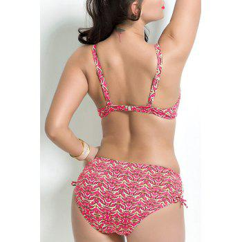Stylish Spaghetti Strap Plus Size Colorful Printed Push Up Underwire Women's Bikini Set - PINK 7XL
