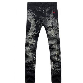 Casual Dragon Printing Zip Fly Straight Legs Denim Pants For Men - BLACK BLACK