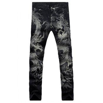 Casual Dragon Printing Zip Fly Straight Legs Denim Pants For Men - BLACK 30