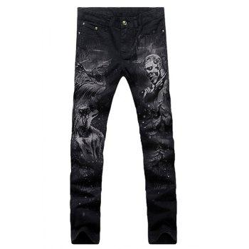 Casual Animal Printing Zip Fly Straight Legs Denim Pants For Men - BLACK 34