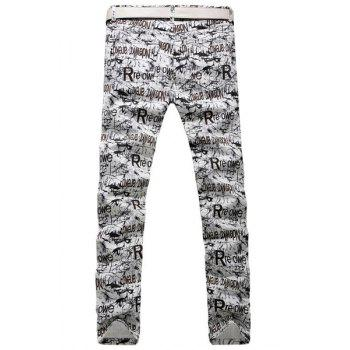 Casual Letter Printing Zip Fly Straight Legs Denim Pants For Men - 33 33