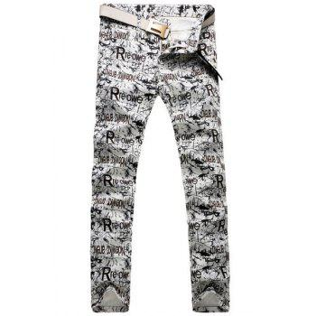 Casual Letter Printing Zip Fly Straight Legs Denim Pants For Men - OFF-WHITE 33
