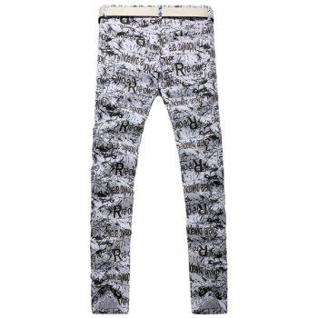 Casual Letter Printing Zip Fly Straight Legs Denim Pants For Men - WHITE/BLACK 28
