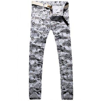 Casual Letter Printing Zip Fly Straight Legs Denim Pants For Men - WHITE AND BLACK 28