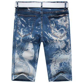 Casual Men's Zip Fly Dragon Lady Printing Denim Shorts - 31 31