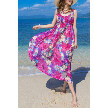 Sweet Women's U-Neck Sleeveless Floral Print Summer Dress