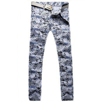 Casual Letter Printing Zip Fly Straight Legs Denim Pants For Men - BLUE AND WHITE 34
