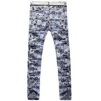 Casual Letter Printing Zip Fly Straight Legs Denim Pants For Men - BLUE/WHITE 34