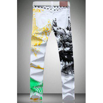 Casual Color Printing Zip Fly Straight Legs Denim Pants For Men - 32 32