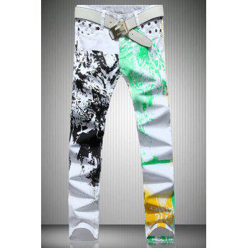 Casual Color Printing Zip Fly Straight Legs Denim Pants For Men - WHITE 34