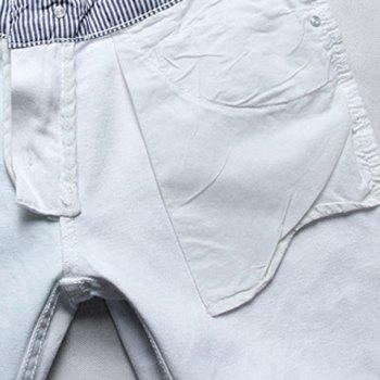 Casual Color Printing Zip Fly Straight Legs Denim Pants For Men - WHITE WHITE