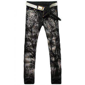 Casual Printing Zip Fly Straight Legs Denim Pants For Men - BLACK 28