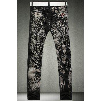 Casual Printing Zip Fly Straight Legs Denim Pants For Men - 28 28