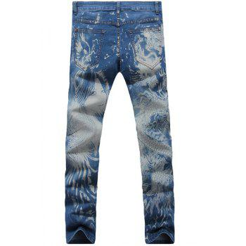 Casual Dragon Printed Zip Fly Denim Pants For Men - 33 33