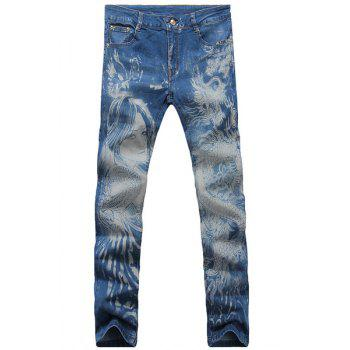 Casual Dragon Printed Zip Fly Denim Pants For Men - LIGHT BLUE 33