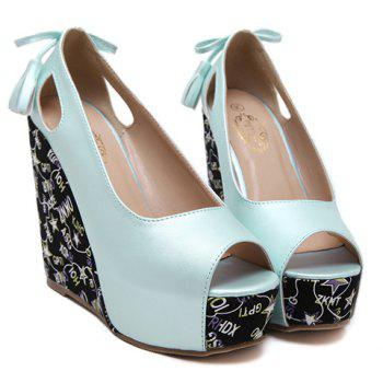 Stylish Hollow Out and Tassels Design Women's Peep Toe Shoes - LIGHT BLUE 36