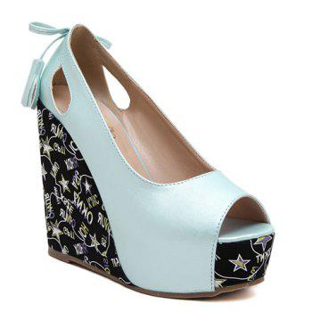 Stylish Hollow Out and Tassels Design Women's Peep Toe Shoes - LIGHT BLUE LIGHT BLUE