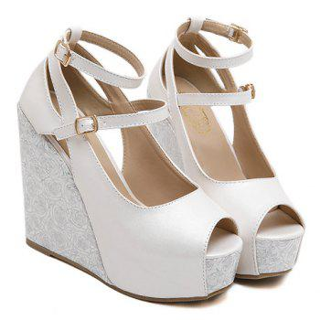 Trendy Platform and Double Buckle Design Women's Peep Toe Shoes - WHITE WHITE