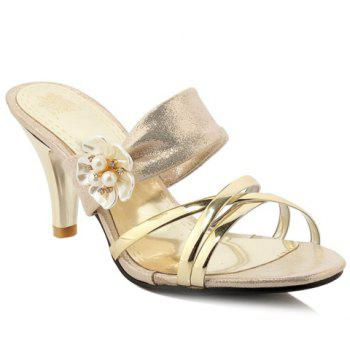 Trendy Flower and Cone Heel Design Women's Slippers - GOLDEN GOLDEN