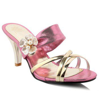 Trendy Flower and Cone Heel Design Women's Slippers - PINK 39