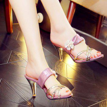 Trendy Flower and Cone Heel Design Women's Slippers - 39 39