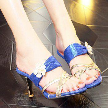 Trendy Flower and Cone Heel Design Women's Slippers - 38 38
