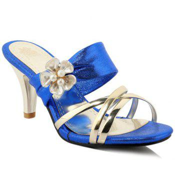Trendy Flower and Cone Heel Design Women's Slippers - BLUE 39