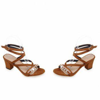 Stylish Solid Color and Rhinestones Design Women's Sandals - BROWN 39