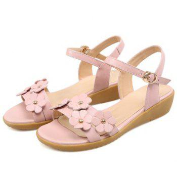Casual Floral and Low Heel Design Women's Sandals - PINK 39
