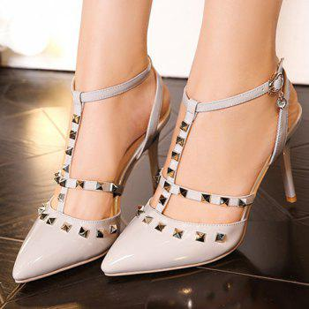 Stylish Pointed Toe and Rivet Design Women's Sandals - GRAY 34