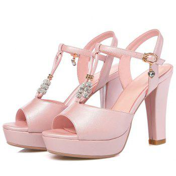 Trendy T-Strap and Peep Toe Design Women's Sandals - PINK 39