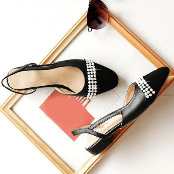 Fashionable Black Color and Square Toe Design Women's Flat Shoes - 38 38