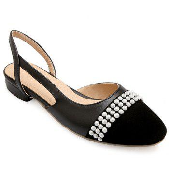 Fashionable Black Color and Square Toe Design Women's Flat Shoes