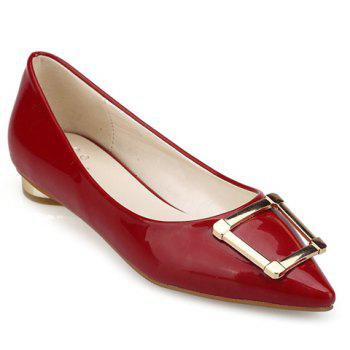 Stylish Patent Leather Metal Design Women's Flat Shoes - RED 39
