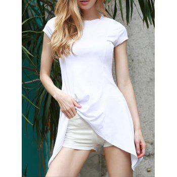 Trendy Short Sleeve White Swallowtail Pullover T-Shirt For Women